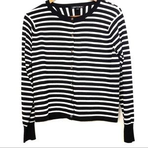 Cable & Gauge Black and White Striped Cardigan Md
